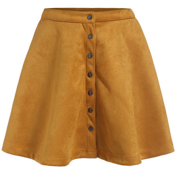 Single-breasted Flare Yellow Skirt