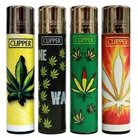 "Clipper Lighter Green Marijuana Design Hemp ""Hojas Maria"" Collection 4 Pieces Best Selling Don't Flick Your Bic!"