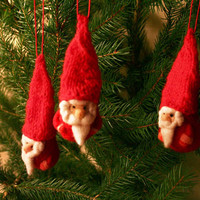 Felted Santa with red knitted hat - a set of three Santas  - Christmas decoration - holiday decor