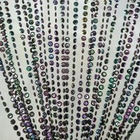 3 ft x 6 ft Iridescent Faux Crystal Beaded Curtain - Black