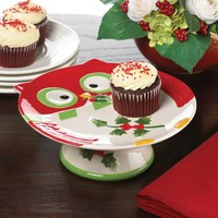 Holiday Hoot Owl Cake Stand