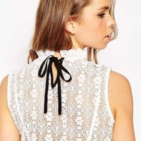 ASOS Sleeveless All Over Lace Frill Neck Top at asos.com