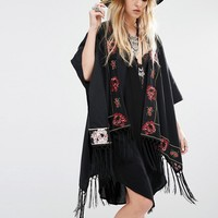 Young Bohemians Oversized Kimono With Floral Embroidery And Tassel Trims