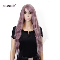 SHANGKE Hair 28'' Long Wavy Synthetic Wigs For Black Women Pink Purple Wig Heat Resistant Synthetic Fake Hair Wig