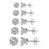 TDEZ-ROUND-SET Sterling Silver 3mm 4mm 5mm 6mm & 7mm Round Sparkling Clear Stud Earrings Set