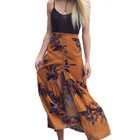 SK130 Floral Print Bohemia Maxi Skirt Boho Hippie Summer Beach Wrap Womens Botton Slit Long Maxi Skirt Trumpet Mermaid Skirts