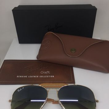 New Ray Ban Sunglasses Aviator Leather RB3422Q C. 001/M9 Gold w/ Polarized Green