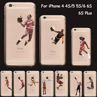 NBA Cover For iPhone 6S Case Silicone Sport Transparent Soft TPU Basketball Phone Case for iPhone 6S Plus 6 5 5S SE 5C 4S 4 7 7P
