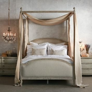 Dauphine Canopy Four-Poster Bed in Beach House Natural