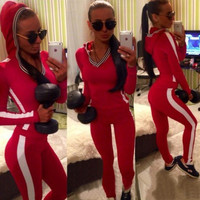 Red Yoga pants Track Suit Long Pants And V-neck Hoodie Sweatshirt Set White