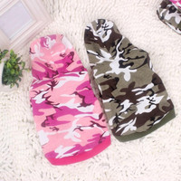 Dog Hoodies Clothes Pet Puppy Cat Camouflage Costumes Apparels T-shirt Tops