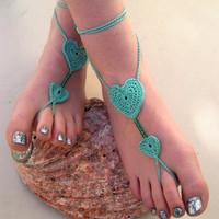 Mint Barefoot sandals -Beach Wedding - Crocheted Heart Anklet - Foot Jewelry - Soleless - Bridesmaid accessory - Summer 2013