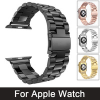stainless steel watch band for iwatch apple watch  38mm 42mm band strap link bracelet  Butterfly Lock with adapter
