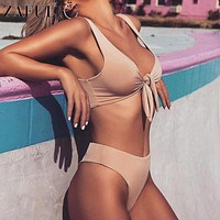 ZAFUL Sexy Solid Biquinis Padded Tied Bowknot High Waist Bikini Set Women Swimsuit Beach Swimwear Bathing Suit Maillot De Bain