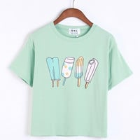 Short Sleeved Ice Cream Printed T-Shirt