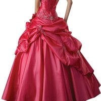 Gorgeous Bridal Taffeta Strapless Long Ball Gowns Lace-up Exquisite