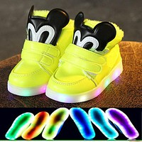 2018 Cartoon warm keep glitter Lovely kids glowing sneakers Autumn/Winter girls boys shoes LED lighted cartoon children boots