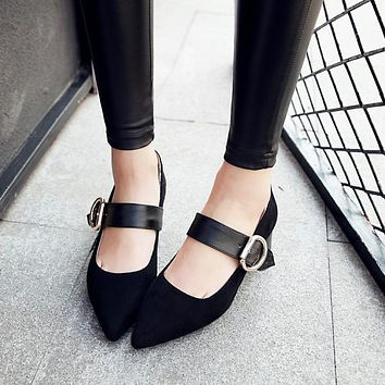 Pointed Toe Faux Suede Buckle Mary Janes Chunky Heel Pumps 2097