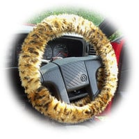 Gold and black Cheetah spot animal print faux fur furry fluffy fuzzy car Steering wheel cover