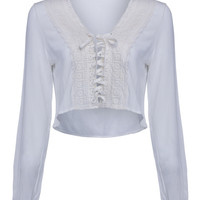 White V-neck Crochet Paneled Lace Up Front Cropped Top