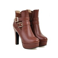 Buckle Ankle Boots High Heels Women Shoes Fall|Winter 1278