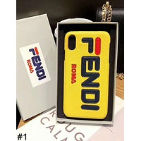 Fendi Tide brand embroidery letter hard shell leather iphonexs mobile phone case cover #1