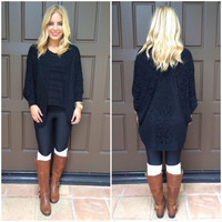 Knit With Love Cardigan Sweater - BLACK