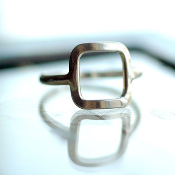 Silver Square Ring Open Square Delicate Geometric by thebeadgirl