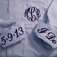 Blue Bridal Party Shirt - Monogrammed Button Down Wedding Day Shirt