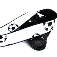 Soccer Camera Strap. Black and White Camera Strap. SLR, DSLR Camera Strap. Gift For Men. Gift for Him. Camera Accessories