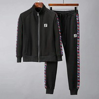 Fendi 2018 new casual men's outdoor sports running suit two-piece Black