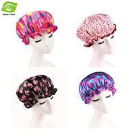 1PC Women Shower Cap Colorful Bath Shower Hair Cover Waterproof Bathing Cap