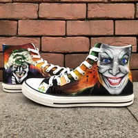 Wen Hand Painted Shoes Joker Design Custom High Top Canvas Sneakers Man Woman's Christmas Birthday Gifts
