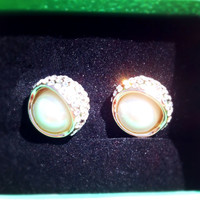 Sparkly Pearl Beauty Crystal Fashion Earrings