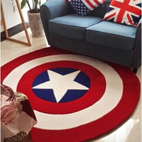 2015 High Quality acrylic Captain America Round rugs Five Star Living room doormat cartoon Carpets Door Floor Mat For Bedroom
