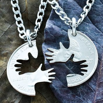 2 Hands Couples and Best Friend Necklaces, By NameCoins