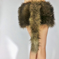 Brown Fur Tail- FREE SHIPPING -Handmade Fur Costume Tail Long Brown Tail Brown Costume Tail for Halloween, Raves, Cosplay, Costume Party