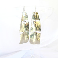 Hammered long earrings silver tone statement