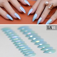 Sky blue full cover stiletto nails Lovely Tips Metal color Fake Artificial Mirror 24pcs mountain peak laser False nails LA01