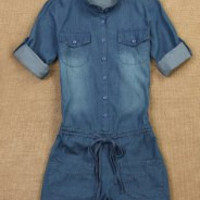 Brief Women's Stand Collar Buttoned Lace-Up 3/4 Sleeve Denim Romper
