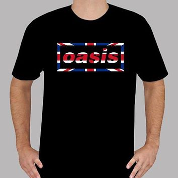 New OASIS UK Flag Logo British Rock Band T Shirt Summer Novelty Cartoon T Shirt 2018 Newest Men'S Funny Top Tee Plus Size|T-Shirts