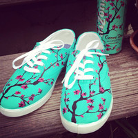 Arizona Green Tea Themed Painted Shoes