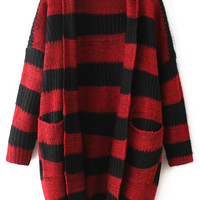 Red Striped Pockets Long Sleeve Coat