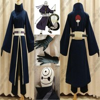 Naruto Sasauke ninja High Quality Anime Costume  Akatsuki Ninja Tobi Obito Madara Uchiha Obito Cosplay Costume Full Suit With Helmet AT_81_8