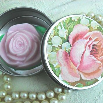 Pink Rose Soap Favors in Gift Box 6 Boxes