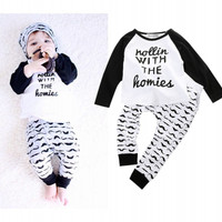 Toddler Cute 2pcs Top T-shirt Pants Sets Kids Clothes Outfits Suit 0~4Y New Baby Boys Kids clothing Set