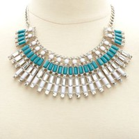 Fanned Faceted Stone Bib Necklace by Charlotte Russe - Silver