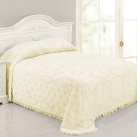 Full size 100 Percent Cotton Chenille Bedspread in Pale Yellow Ivory Damask