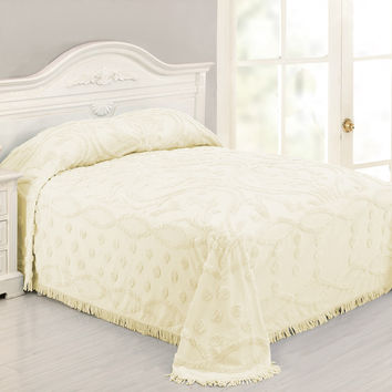 Queen Size 100% Cotton Chenille Bedspread in Pale Yellow Ivory Damask
