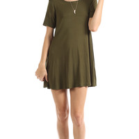 SHORT SLEEVE FULL SWING DRESS - OLIVE